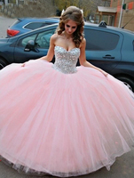 vestidos 15 anos Pink 2018 Ball Gown Quinceanera Dresses Ball Gown Off the Shoulder Debutante Sweet 15 Years Crystal Prom Gowns