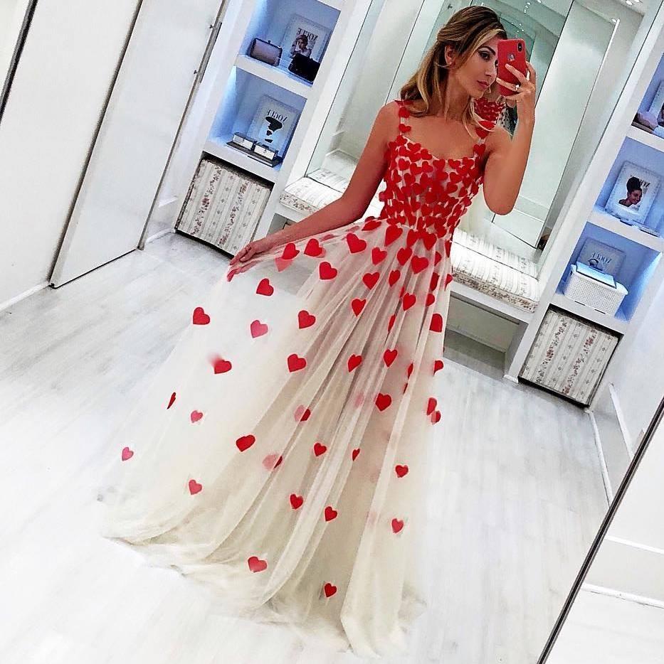 Charming Red Heart Tulle   Prom     Dresses   2019 Elegant Spaghetti Strap A-Line   Prom   Gowns Custom Make Party   Dress   Vestidos De Gala