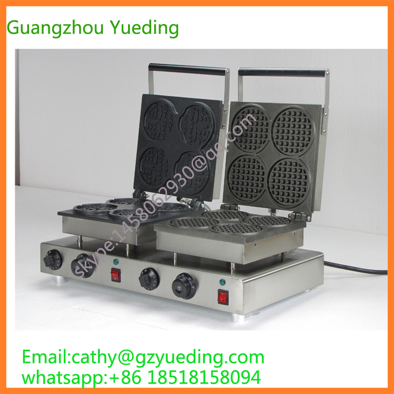 Double head Electric Round and Smile shape waffle machine/waffle making machine/snack machine directly factory price commercial electric double head egg waffle maker for round waffle and rectangle waffle
