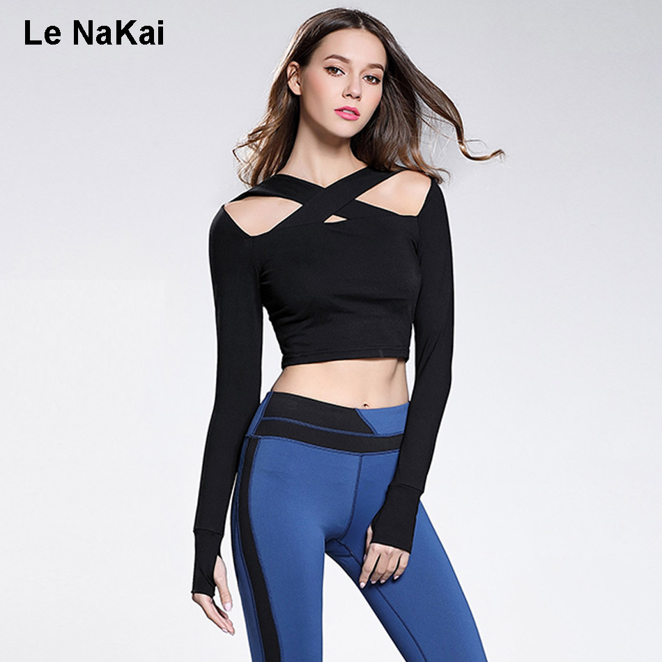Colpus Cut Out Sexy Yoga Top Shirts For Women Fitness Cross Bust Long Sleeves Crop Top With Thumb Hole Solid Slim Yoga Jerseys