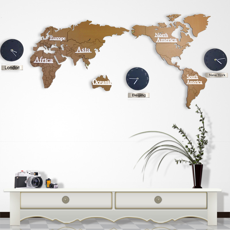 diy 3d wooden mdf digital wall clock world map large wall clock wood watch modern european style round mute relogio de parede in wall clocks from home