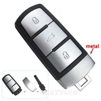 New 3 Buttons Smart Car Key Case Shell Fob Cover For Volkswagen VW Magotan Passat CC Smart Card Insert Blade Auto Accessories