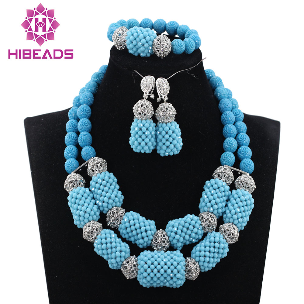 Nigerian Sky Blue Coral Beads Women Beads Necklace Jewelry sets African Wedding Bridal Jewelry Set Free Shipping ABH300