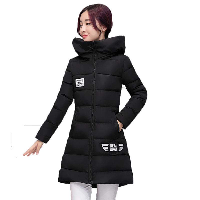 Winter Women outerwear 2017 new pure color plus size mid-long cotton coat Long sleeves Thickning hooded warm female Parkas wy015 2015 new hot winter thicken warm woman down jacket coat parkas outerwear luxury straight hooded mid long plus size high original