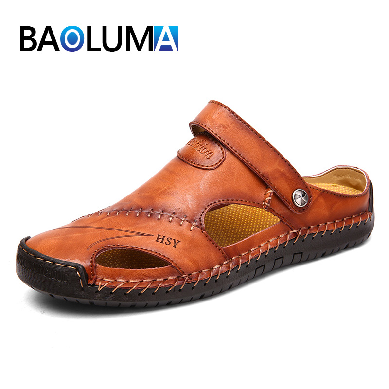 2019 New Classic Leather Sandals Casual Men Soft Sandals Comfortable Roman Men Shoes Summer Outdoor Beach Sandals Big Size 38-48(China)