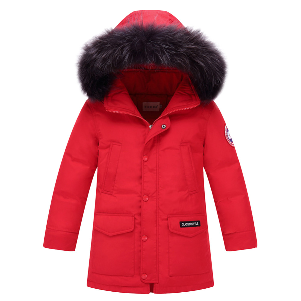 Children Winter Duck Down Girls Thickening Warm Down Jackets Boys long Big Fur Hooded Outerwear Coats Kids Down Jacket стоимость
