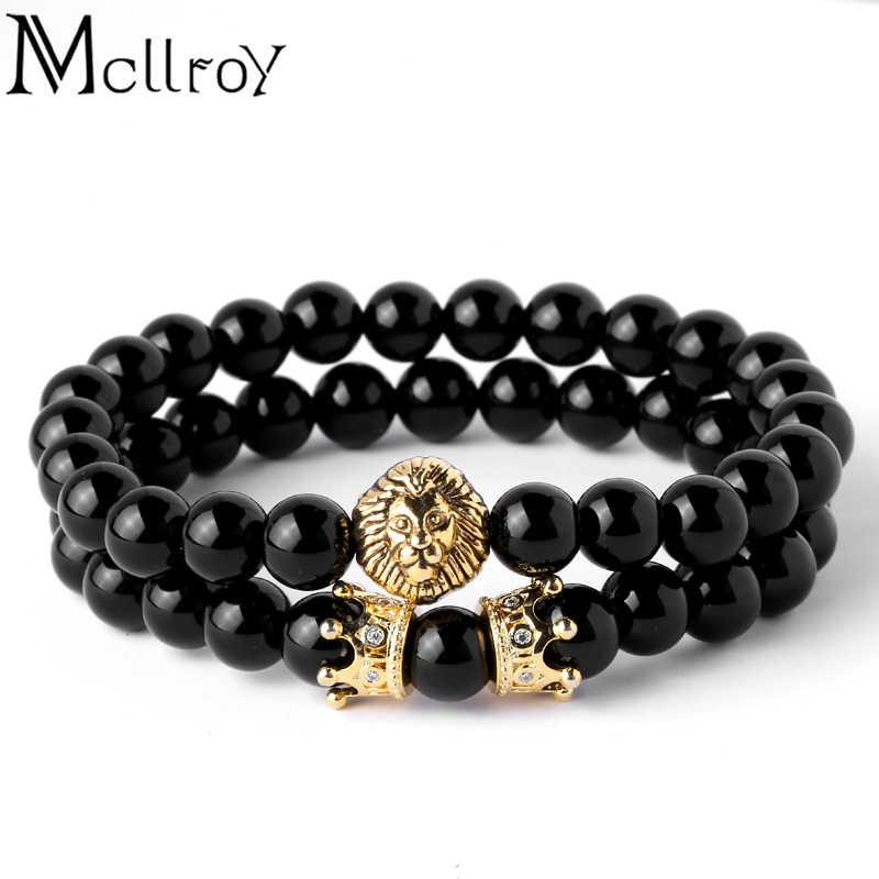 Mcllroy mężczyźni bransoletka głowa lwa z korona bransoletki 8mm kamień naturalny koraliki bransoletka Pave CZ korony kobiet mężczyzn biżuteria pulseras