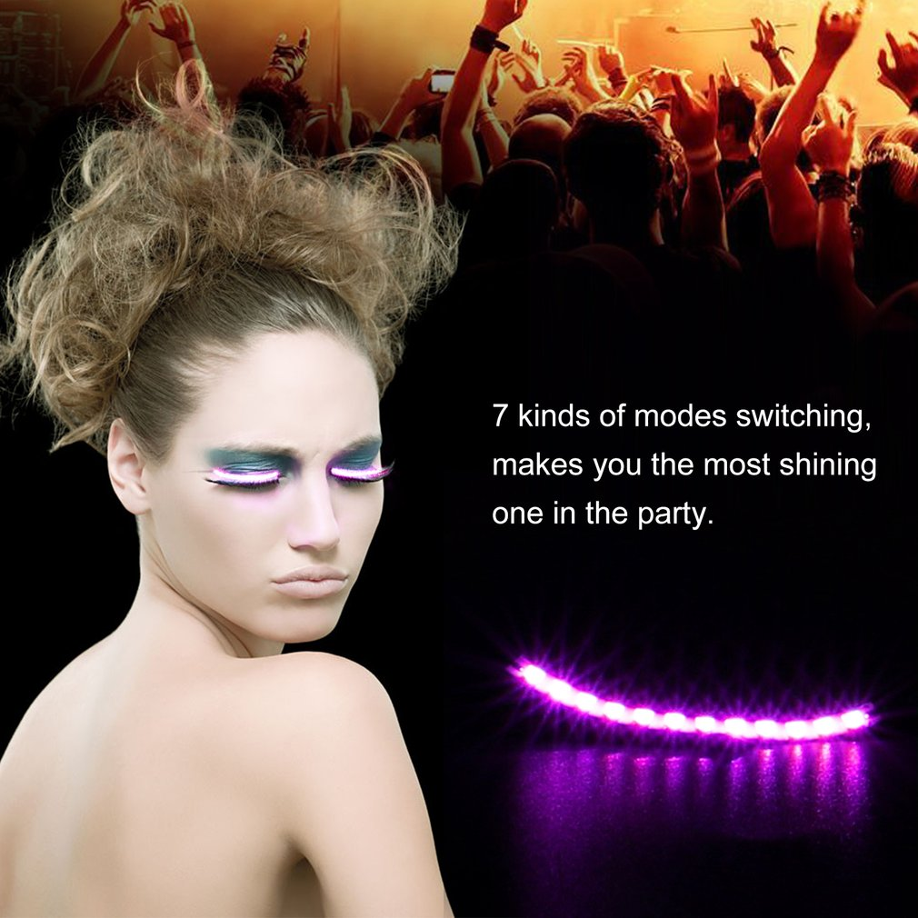 Waterproof Flash <font><b>LED</b></font> Luminous false Eyelashes Strips Voice Control Makeup Light Sticker For Party Costume Halloween Club Bar