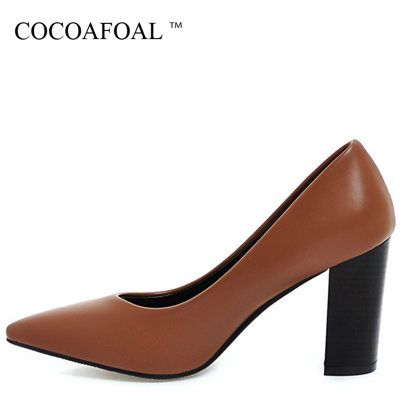 COCOAFOAL Woman Wedding Pumps Plus Size 33 - 43 Shallow Sexy High Heels <font><b>Shoes</b></font> <font><b>Beige</b></font> Brown Black Pointed Toe Calzado Mujer Pumps