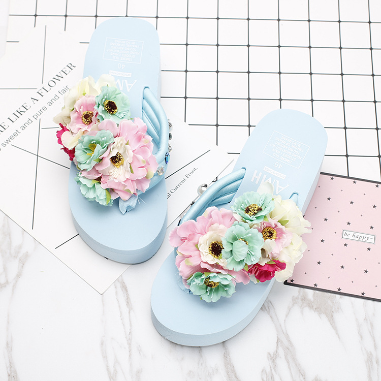 2018 New Summer Slippers Women Fashion Flip Flops Beach Platform Sandals Ladies Handmade Flowers Wedge Shoes new summer cheap slippers women fashion flip flops beach platform sandals ladies handmade flowers wedge jelly shoes bohemia