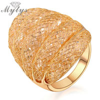 Gold Plated Wire Mesh Net Stardust Ring For Women High Quality Jewelry Wholesale Price R38