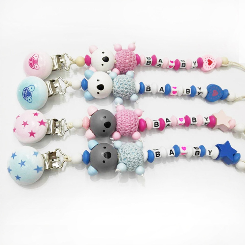 Baby Pacifier Clip Pacifier Chain Bear Shape Hand Made Cute Wooden Colourful Beads Dummy Clip Baby Soother Holder