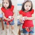 Muchachas del niño de volantes mangas Shorts Floral T-shirt + Bow pantalones vaqueros jadean trajes