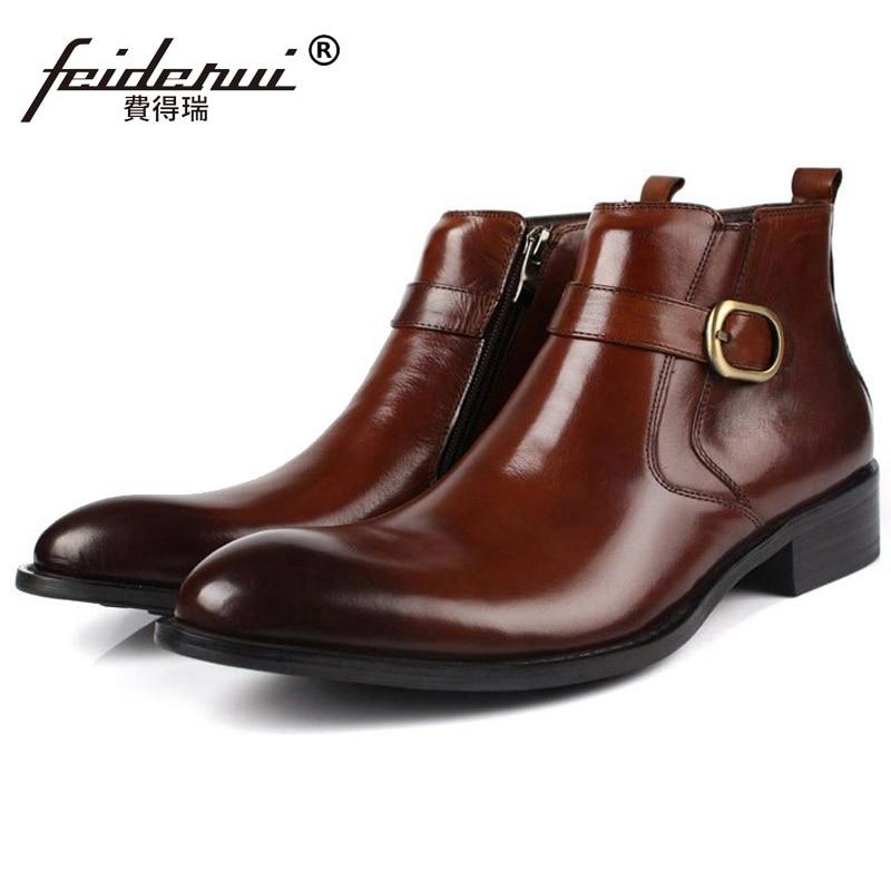Designer Od17 marrom Luxo Marca Fivela Boots Rodada Couro Genuíno Zíper Negócios Homem Preto Toe Martin Cowboy Ankle Homens Dos De Cinta Sapatos 17r7xq5wH