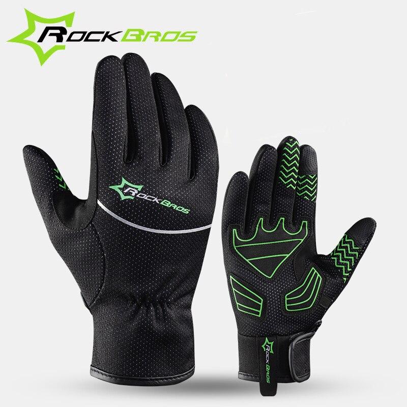 Цена за Rockbros Велоспорт Езда Мужчины Анти шок Тепловой guantes MTB Дороги Велосипед Зимние Полный Палец Ветрозащитный Научить Экран Перчатки