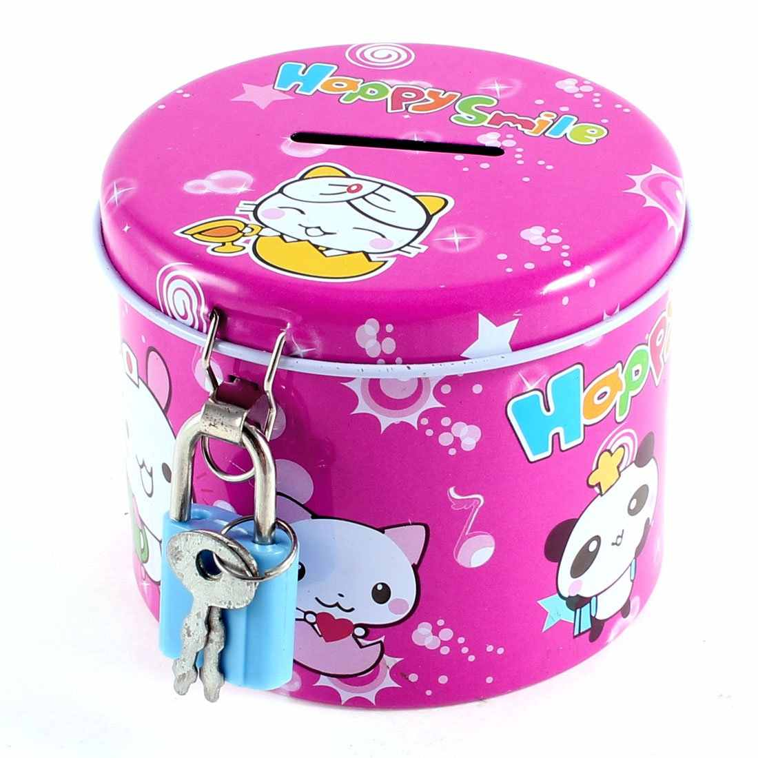 Newest Arrive Cylinder Design Cartoon Print Fuchsia Piggy Bank Coin Money Saving Box w Padlock