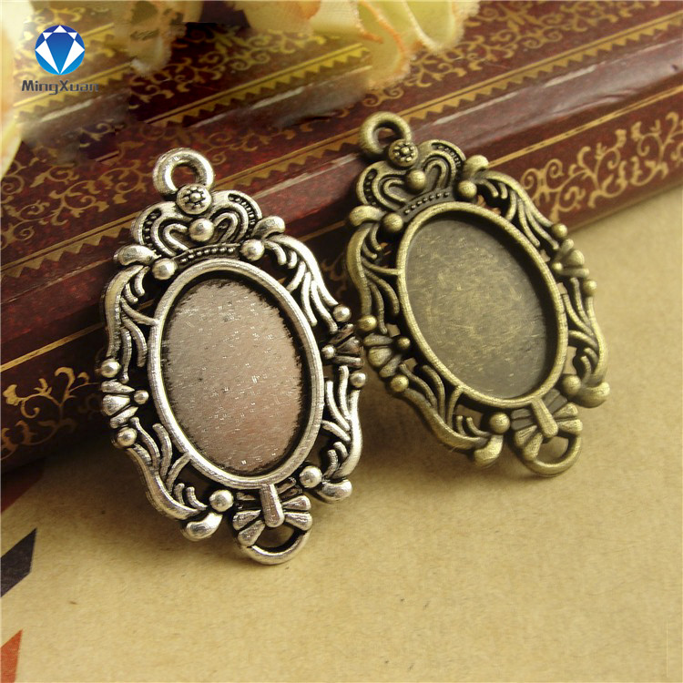 20Pcs 25MM Round Antique Color Zinc Alloy Cameo Cabochon Pendant Tray Blank Base