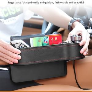 Image 3 - Caja de almacenamiento de hendidura de asiento para coche 2 cargadores USB para coche, encendedor de cigarrillos, bolsa organizadora para automóvil, espacio de bolsillo, tarjetero de carga