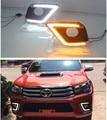 Стайлинга автомобилей TOYOTA Hilux Revo виго 2015 - 2016 8-го поколения 2x супер яркий из светодиодов DRL дневные ходовые огни с поворотом световой сигнал