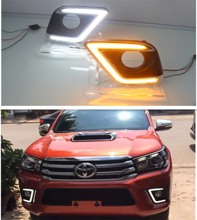 ФОТО Car styling TOYOTA Hilux Revo VIGO 2015-2016 8th Gen 2x Super bright LED DRL daytime running lights with turning signal light