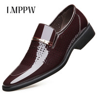 2019 Summer New Men's Shoes Retro Hollowed Formal Business Shoes Pointed Patent Leather Men Oxford Shoes Slip on Dress Men Shoes