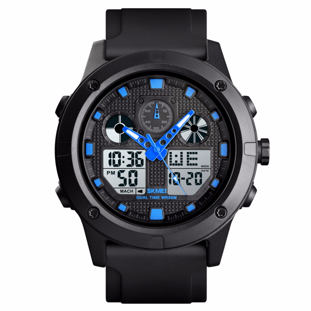 <font><b>Skmei</b></font> Men's Digital Analog Sport Watch 50m Waterproof Chronograph Date Alarm Casual Outdoor Military Wrist Watches for Men Gift image