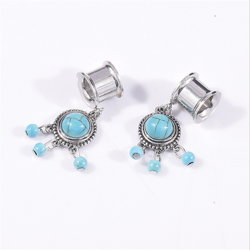 2PCS Trendy Stainless Steel Vintage Leaves Ear Plugs Tunnels Flesh Bohemia Expansions Piercing Earring Gauges Sexy Body Jewelry