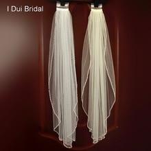 Véu de noiva do casamento com pérola frisado um acessório de cabelo camada com pente branco marfim tule