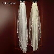 Wedding Bridal Veil met Parel Kralen Een Layer Haar Accessoire Met Kam Wit Ivoor Tulle