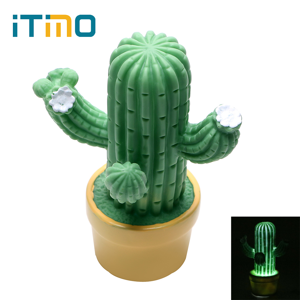 iTimo Cactus LED Night Light Novelty Lamp Home Bedroom Decoration Battery Operated Desk Lamp for Kids Children Nightlight itimo led night light baby sleeping kids bedside light bedroom decoration cartoon star night lamps novelty nightlight