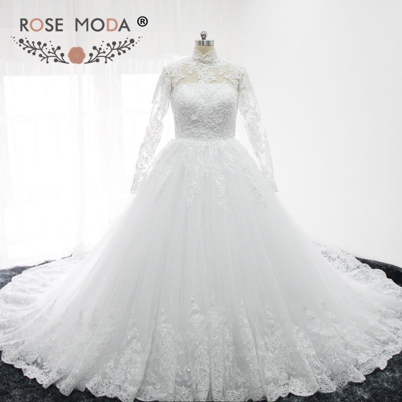 Aliexpress.com : Buy Rose Moda High Neck Long Lace Sleeves