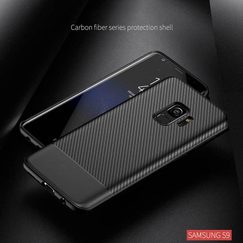 En Fiber De carbone Motif Ultra-mince Souple TPU Retour Housse pour Samsung Galaxy S9 Plus S8 Plus Note 9 8 pour iPhone X 6 6 s 7 8 Plus