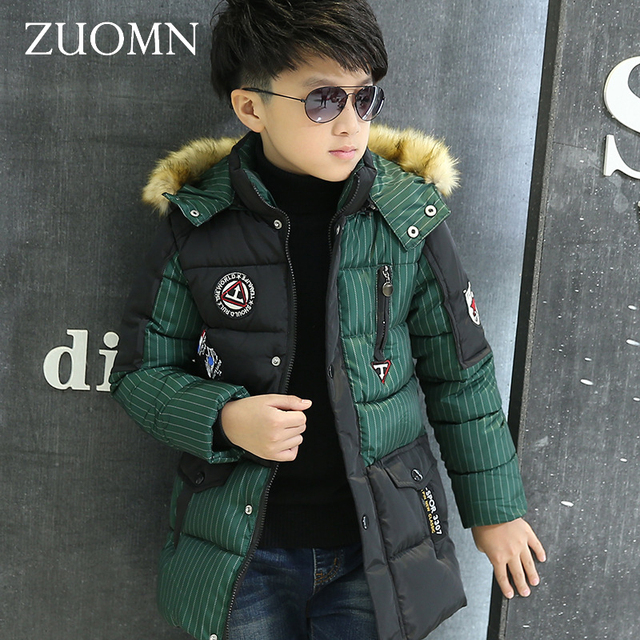 Новые зимние Куртки для Обувь для мальчиков Модная Утепленная зимняя детская Пуховые пальто верхняя одежда теплая верхняя одежда большой детская одежда GH238