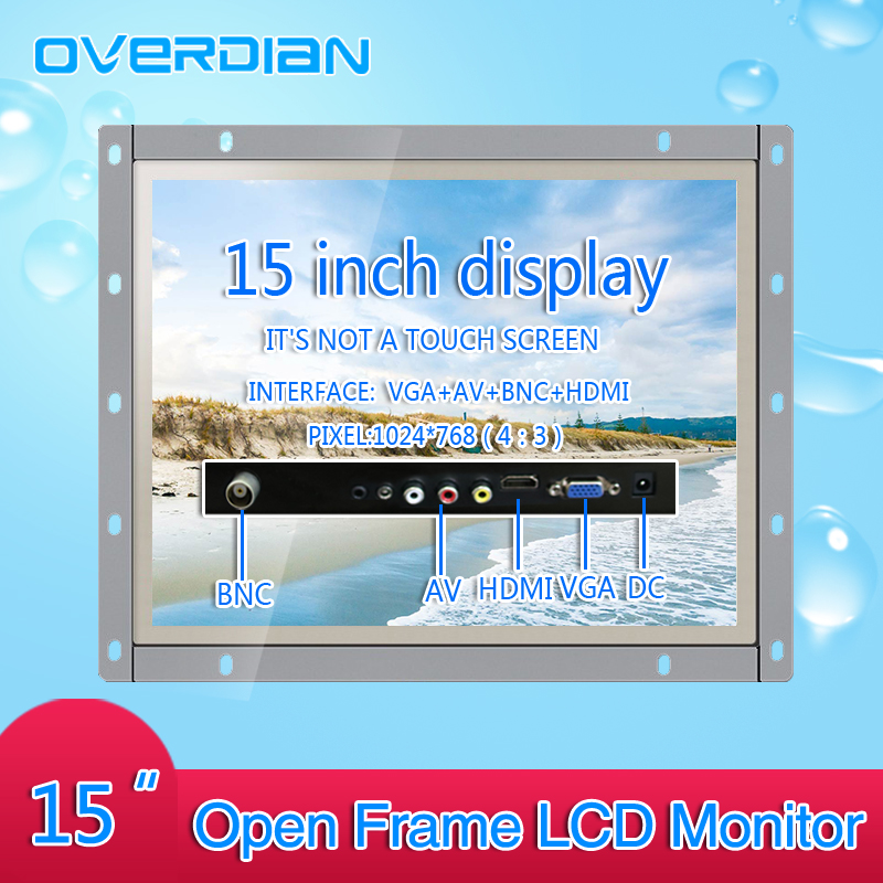 15Inch Industrial Control Lcd Monitor VGA/HDMI/AV/BNC Interface White Open Frame Non-Touch Screen Metal Shell 1024*768 10 4 10 vga dvi interface non touch industrial control lcd monitor display 1024 768 metal shell hanger card installation 4 3