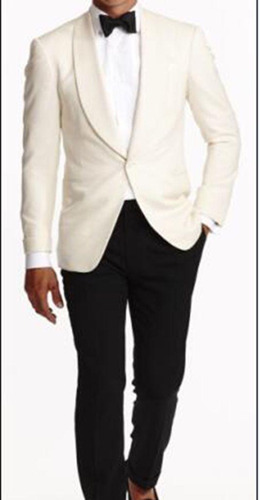 Avorio Giacca Con Pantaloni Neri su ordine degli uomini Smoking Cena Partito del Vestito Convenzionale C113-in Completi uomo da Abbigliamento da uomo su  Gruppo 1