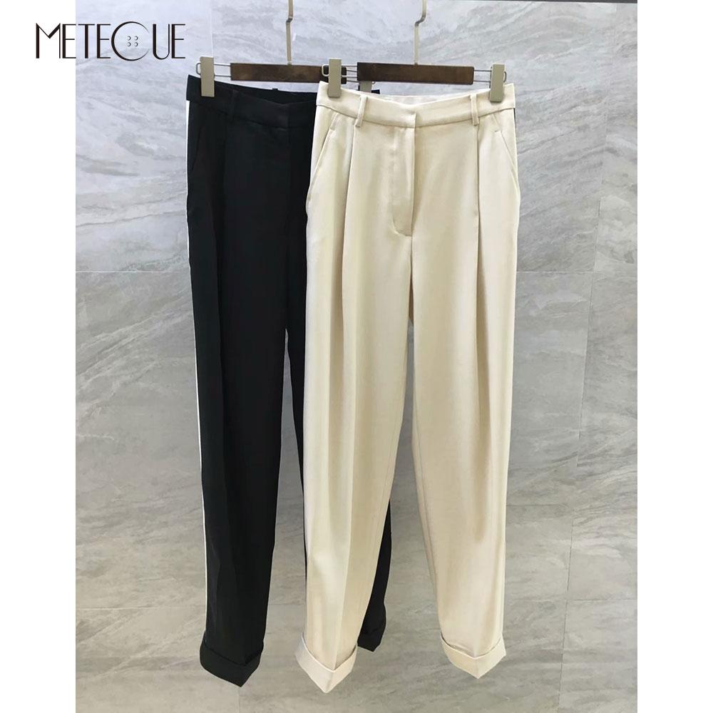 100% Wool High Waisted Pants Women 2018 Fall Winter Fashion Office Lady Side Striped Women Trousers 2018 Pre Fall