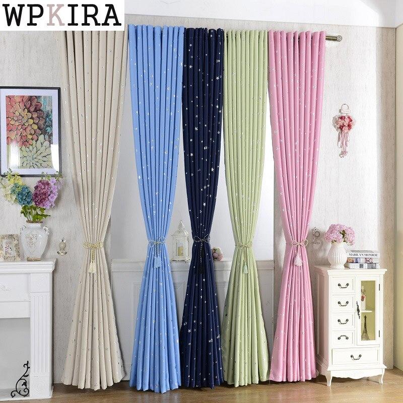 Cortinas de tela para niños con estrellas brillantes para niños y niñas habitación sala de estar azul/Rosa opaca Cortinas hechas a medida 123 y 30