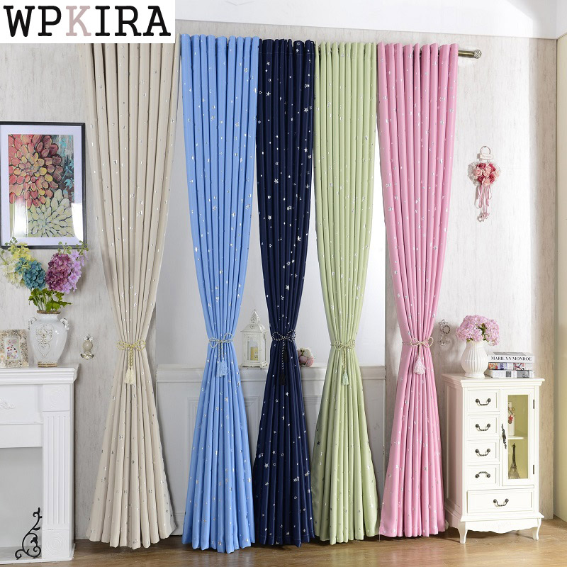 Shiny Stars Children Cloth Curtains For Kids Boy Girl Bedroom Living Room Blue/Pink Blackout Cortinas Custom Made Drapes 123&30 screening tree print blackout curtain for living room