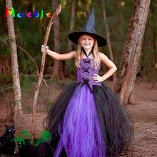 581151c211 Fioletowy Czarny Puszyste Dziewczyny Tutu Sukienka Mała Czarownica Dzieci  Party Kostium Boże Narodzenie Fancy Dziewczyna Ubiera .