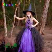 Purple Black Fluffy Girl Tutu Dress Little Witch Children Party Costume Christmas Fancy Girl Dresses Baby
