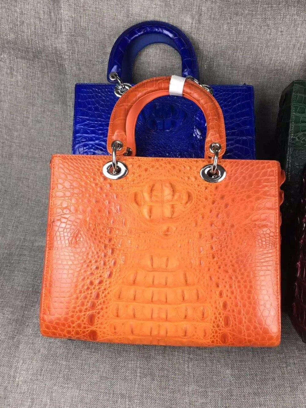 2018 newest high end quality 100% real genuine crocodile skin women tote handbag shouder orange color crocodile head skin flat 2018 yuanyu new hot free shipping real crocodile women handbag crocodile handbag lady high end hand women bag