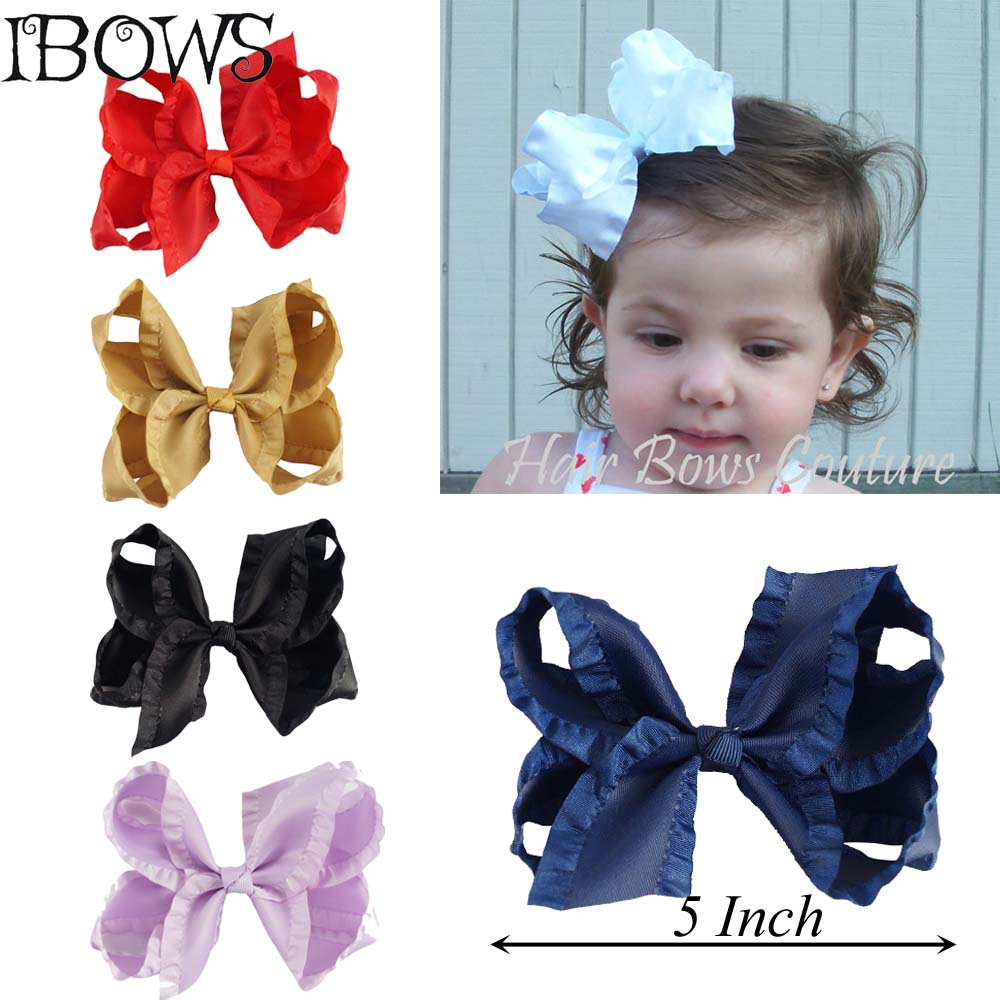 5 Inch Boutique Hair Pin Satin Ribbon Bows Hairpins Girl Bows Hair Clips Kids Headwear Accessories 40pcs lot 30 colors 4inch hair bows kids girls hair clips boutique bows hairpins for kids children kids girl hair accessories