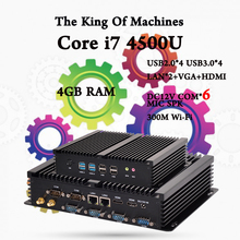 Мини-ПК Настольных Вентилятора COM HDMI VGA 300 М Wifi 4 К HD HTPC USB 3.0 windows компьютер win7, 8,10, linux, ubuntu Интер CPU i7 4500U