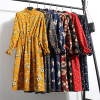 2018 Spring Autumn Dress Women Elastic Waist Stand Neck Printed Corduroy Casual Long Sleeve Boho Vestidos