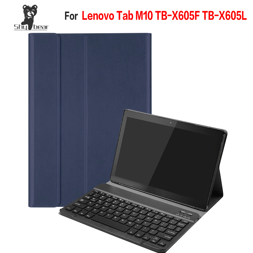 PU Leather Case for LENOVO M10 TB X605F TB X605L Removable Bluetooth Keyboard Cover Case