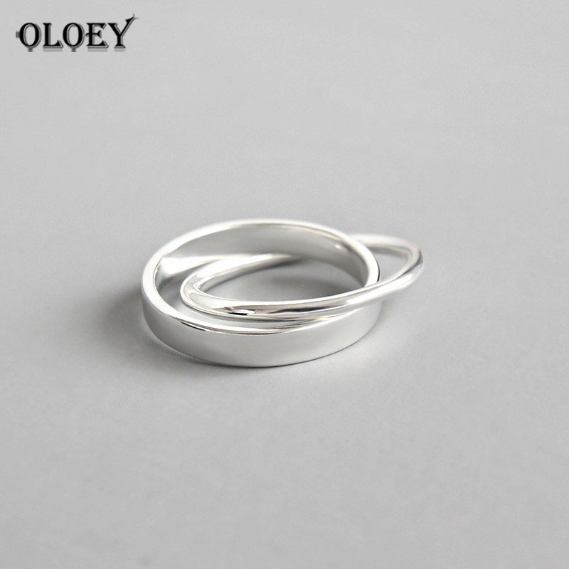 OLOEY 100% Pure 925 Sterling Silver Rings For Women Double Interlock Circle Anel Feminino Female Fine Jewelry Party Gifts YMR527