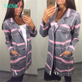 TAOVK new fashion Russian style Women's Cardigans Plaid knit long cardigan sweaters