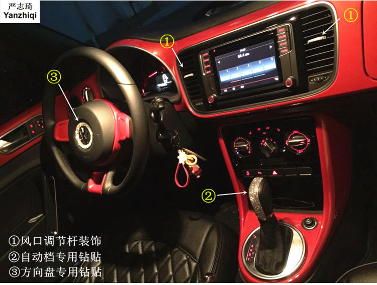 Air conditioning outlet rhinestone stickers steering wheel Gear shift Diamond sticker for 2013-2018 Volkswagen VW Beetle