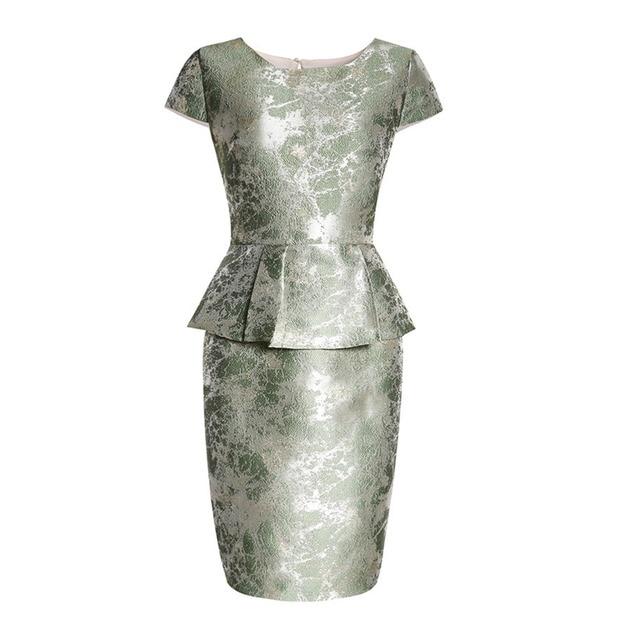Pettigirl Midi Cocktail Party Dresses 2017 Women O-Neck Dress European Boutique Womens Waist Ruffled Splicing Short Sleeve Slim