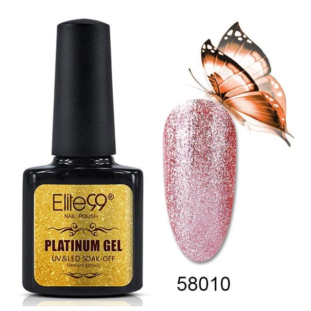 Elite99 10 ml Platin Farbe Nagel Gel Lack Semi Permanent Nail art Glitter Perle Gelpolish Lack Tränken weg vom UV Gel nagellack